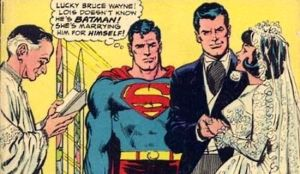panel from classic Superman comic with Lois marrying Bruce