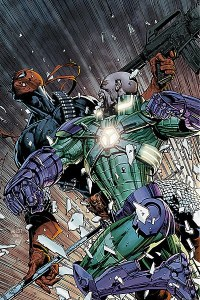 Why yes, yes that is Lex Luthor punching out Deathstroke...