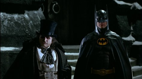 Batman Returns - Penguin and Batman - looking confused