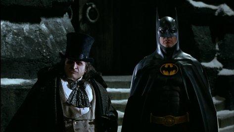 Batman Returns - Penguin and Batman - looking confused